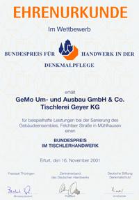 Urkunde Gemo-Bau
